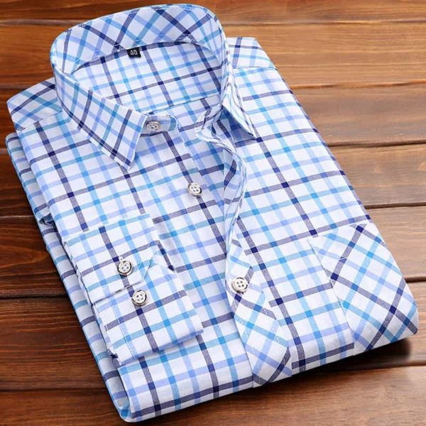 Square Neckline Shirt For Men light blue