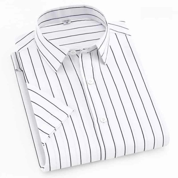 Short Sleeve Striped Men Casual Shirts 1