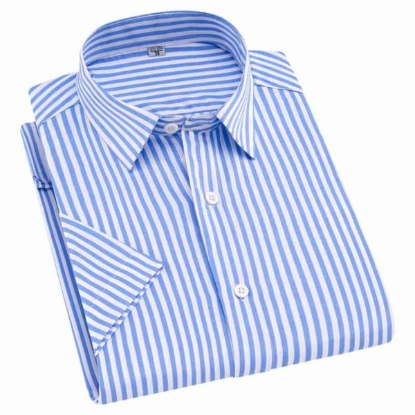 Short Sleeve Striped Men Casual Shirts 2