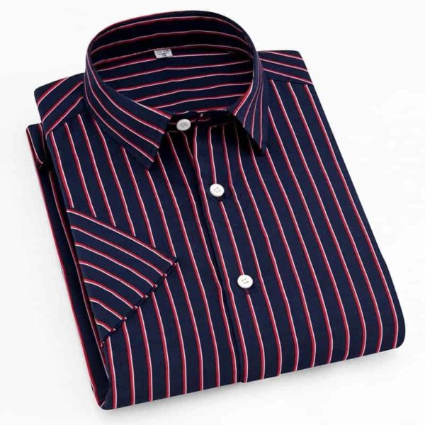 Short Sleeve Striped Men Casual Shirts 3