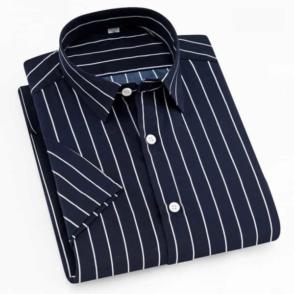 Short Sleeve Striped Men Casual Shirts