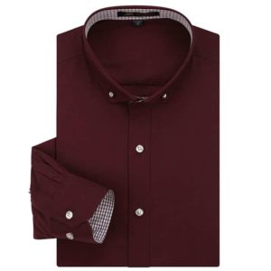 Spring Button Collar Slim Fit Solid Plain Shirt
