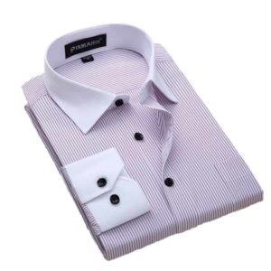 Plus Size Slim Fit Striped Shirts