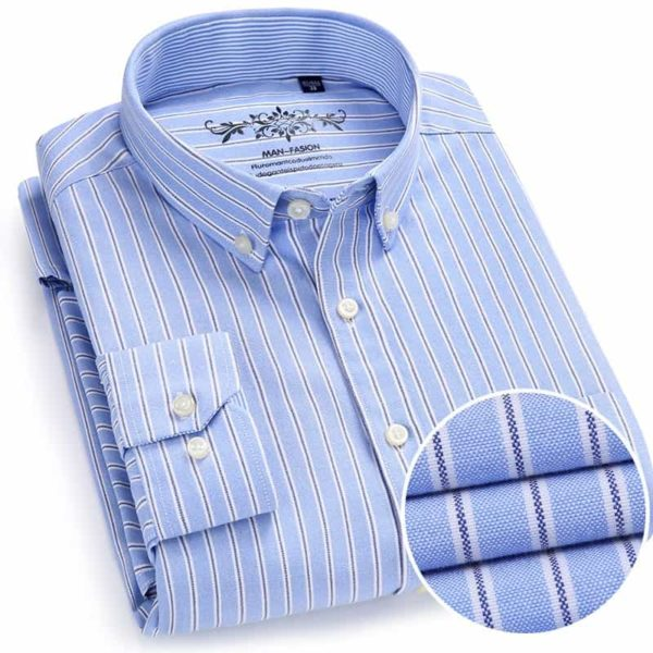 Oxford Fabric Long Sleeve Striped Mens Shirts 1
