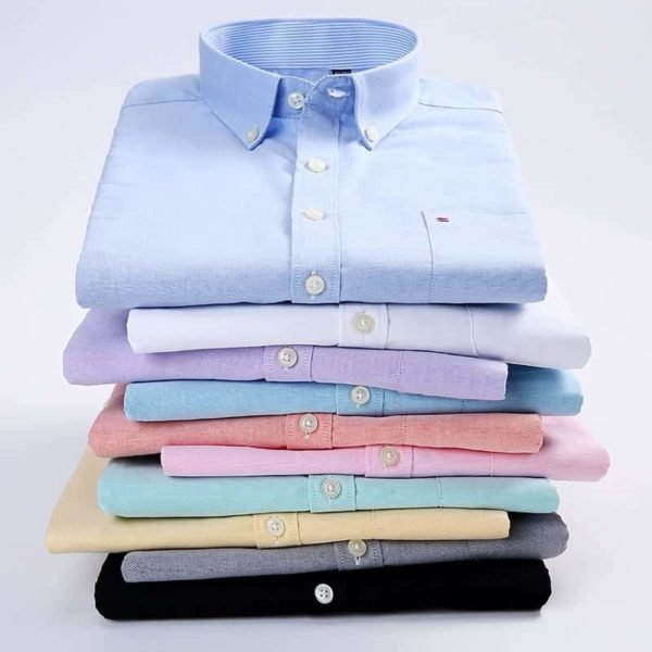 Short Sleeve Button Up Oxford Fabric