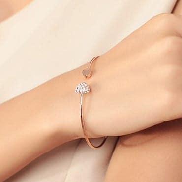 Crystal Double Heart Bow Cuff Opening Bracelet 5