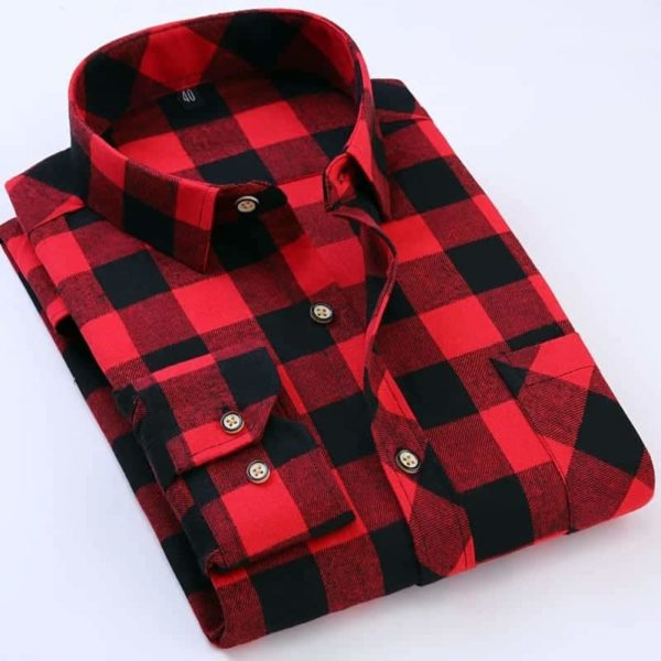 England Style Youngster Men Plaid Shirts 1