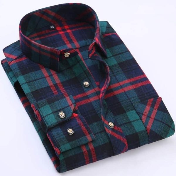 England Style Youngster Men Plaid Shirts 2