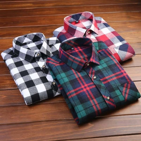 England Style Youngster Men Plaid Shirts 3