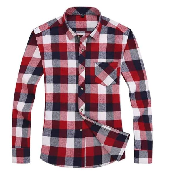 England Style Youngster Men Plaid Shirts 5