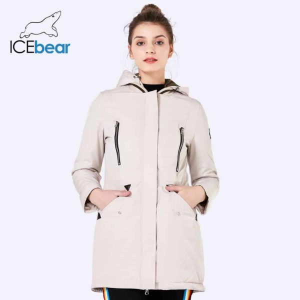 Women Long Thin Jacket With Hat Detachable 2