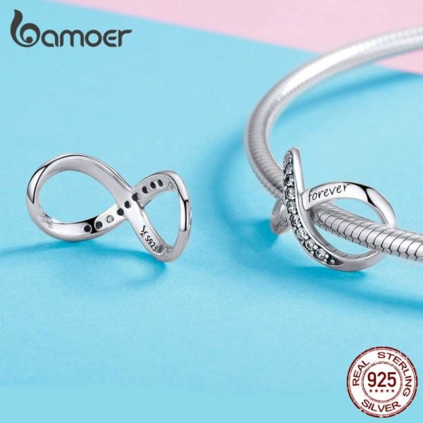 Bamoer Infinity Family Forever Clear Crystal Charm 28