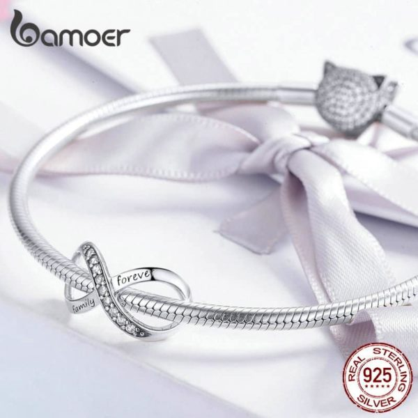 Bamoer Infinity Family Forever Clear Crystal Charm 29