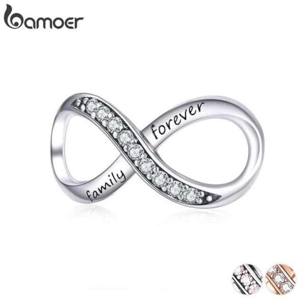 Bamoer Infinity Family Forever Clear Crystal Charm 25