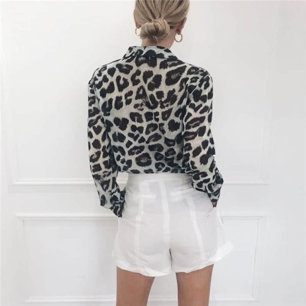 Vintage Blouse Long Sleeve Sexy Leopard Print 3
