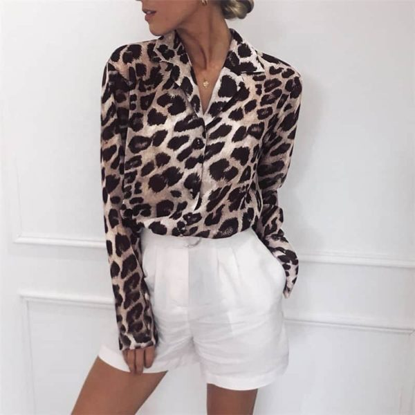 Vintage Blouse Long Sleeve Sexy Leopard Print 4