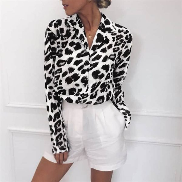 Vintage Blouse Long Sleeve Sexy Leopard Print 5