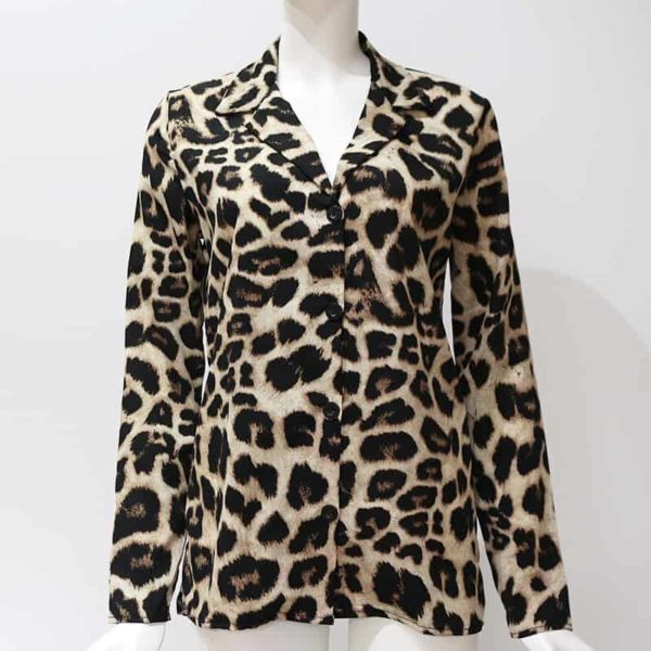 Vintage Blouse Long Sleeve Sexy Leopard Print 6