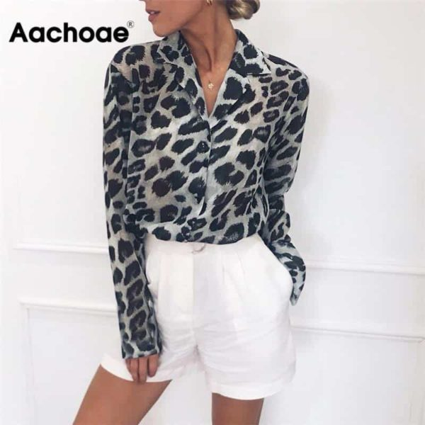 Vintage Blouse Long Sleeve Sexy Leopard Print 1