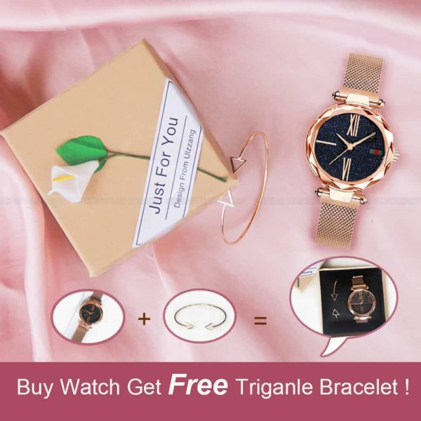 Luxury Minimalism Starry sky Magnet Rose Gold Women Watches 2