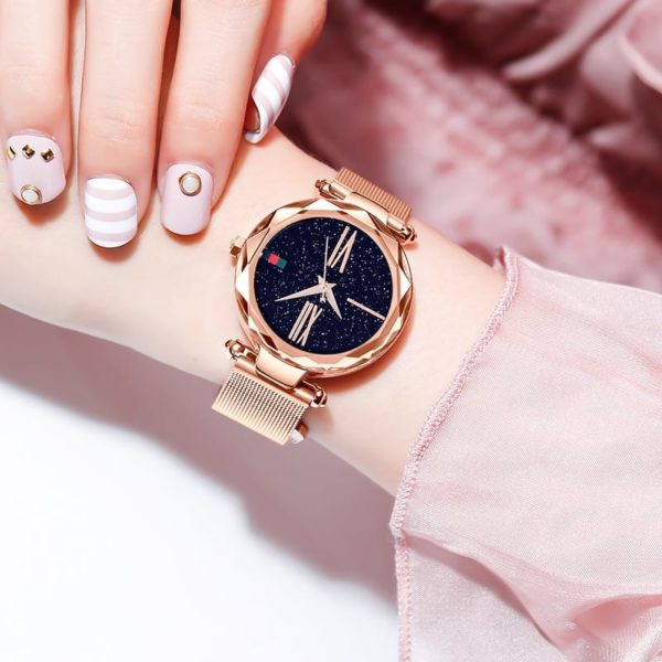 Luxury Minimalism Starry sky Magnet Rose Gold Women Watches 3