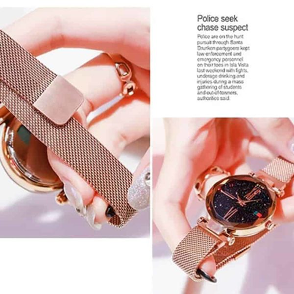 Luxury Minimalism Starry sky Magnet Rose Gold Women Watches 4