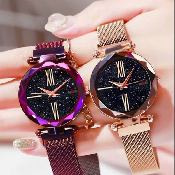Luxury Minimalism Starry sky Magnet Rose Gold Women Watches 5