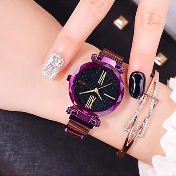 Luxury Minimalism Starry sky Magnet Rose Gold Women Watches 6