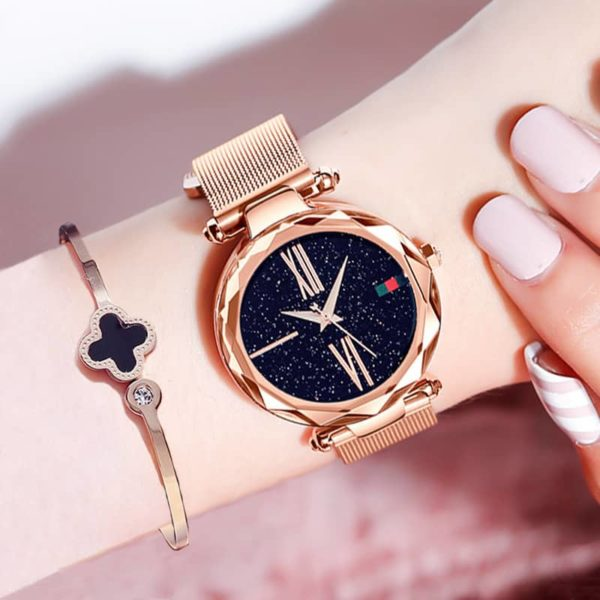 Luxury Minimalism Starry sky Magnet Rose Gold Women Watches 1