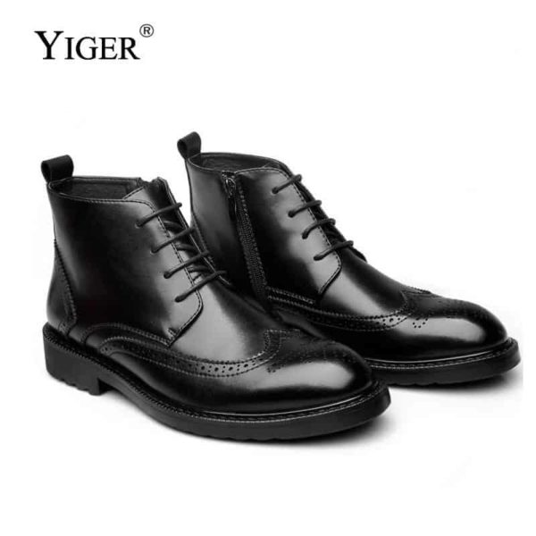 YIGER Genuine Leather Boots for Men 2