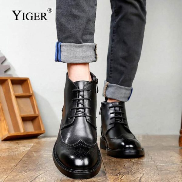 YIGER Genuine Leather Boots for Men 4