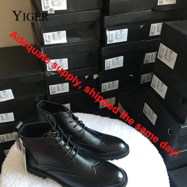 YIGER Genuine Leather Boots for Men 5