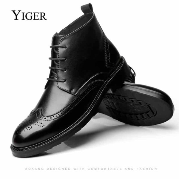 YIGER Genuine Leather Boots for Men 1